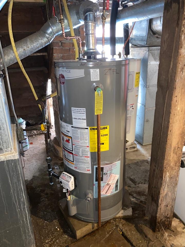 Meriden, CT - Replacement of a 40 gallon natural gas Rheem water heater