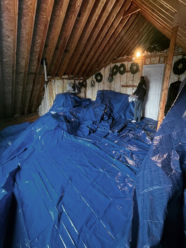 Columbia, TN - Making sure debris do not get all over the home owners belongings in the attic.