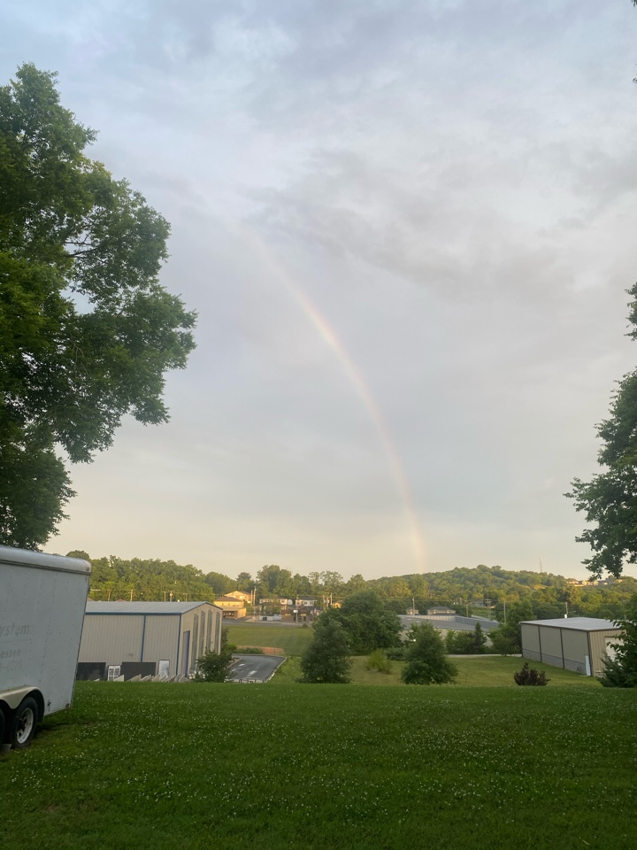 Columbia, TN - A beautiful Tuesday morning rainbow at our office.