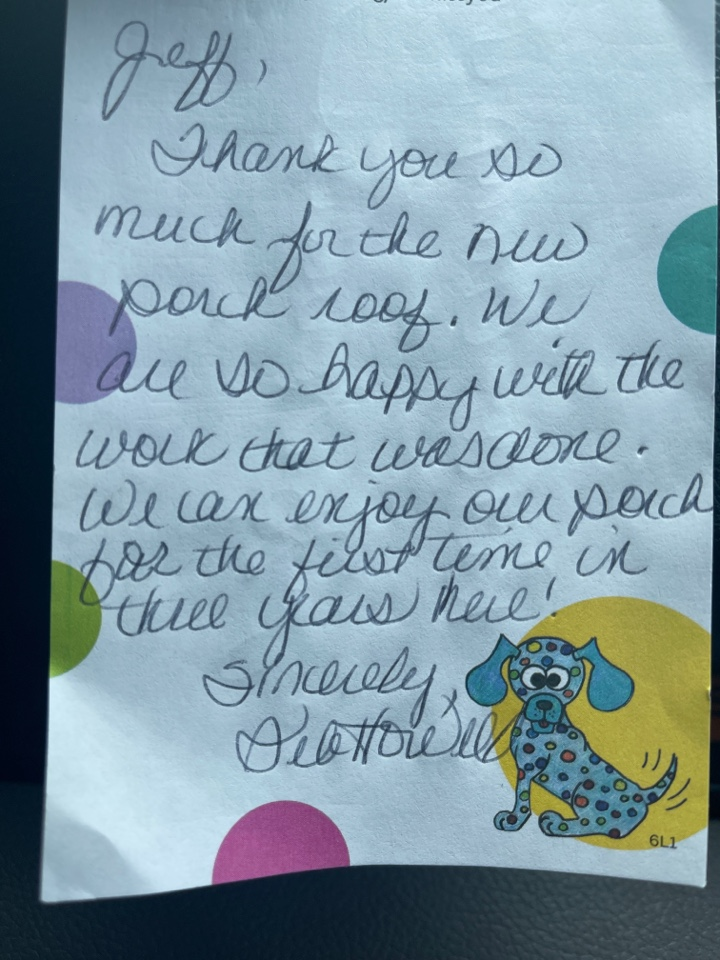 Columbia, TN - A note from a satisfied customer.