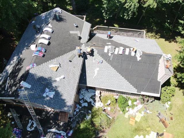 Glastonbury, CT - Roof replacement with GAF Timberline HDZ shingles in the color Pewter Grey