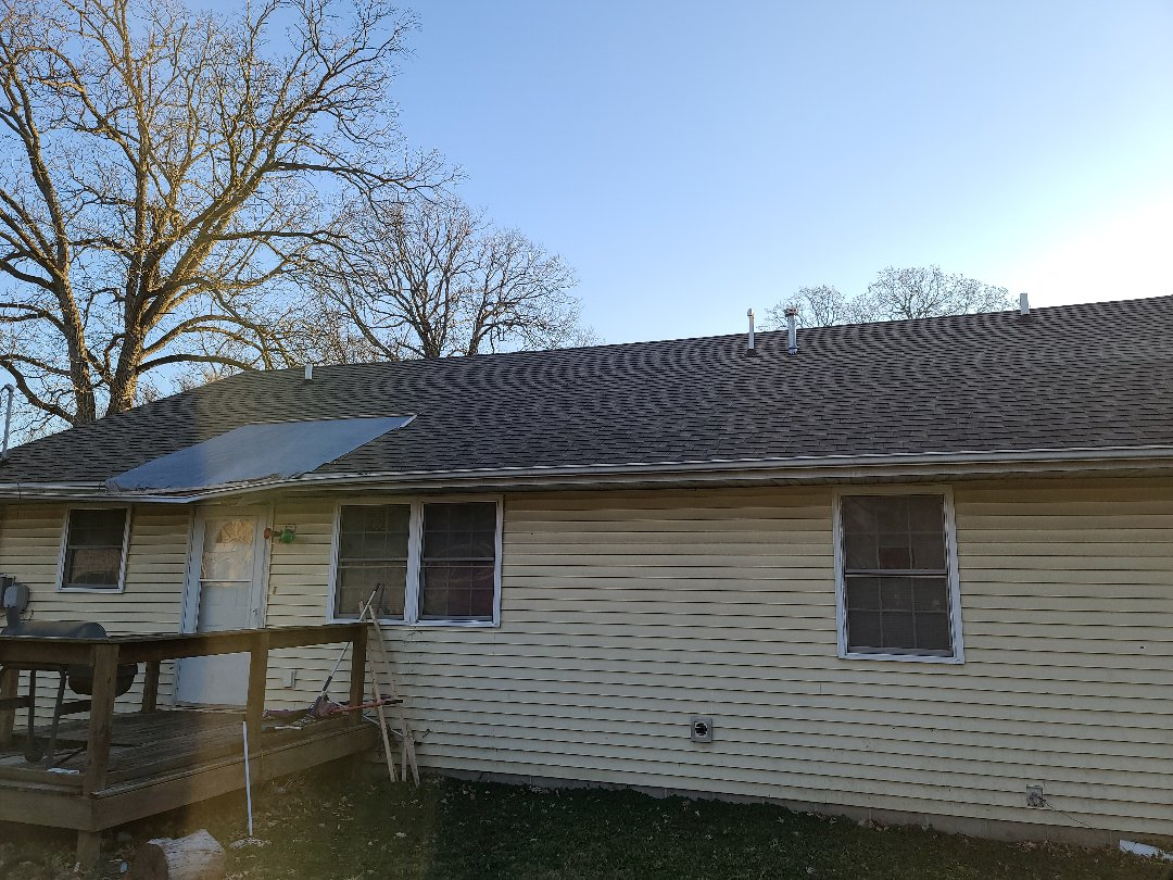 Danville, IL - A tree fell on the house, we are going to be replacing the back side of this roof. Some rafters/trusses will need some work as well as some plywood!
