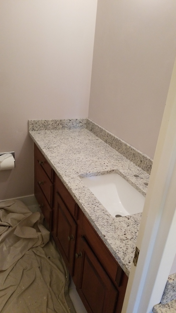 Chevy Chase, MD - Master Bathroom vanity top with level 1 Dallas White Granite Counter tops