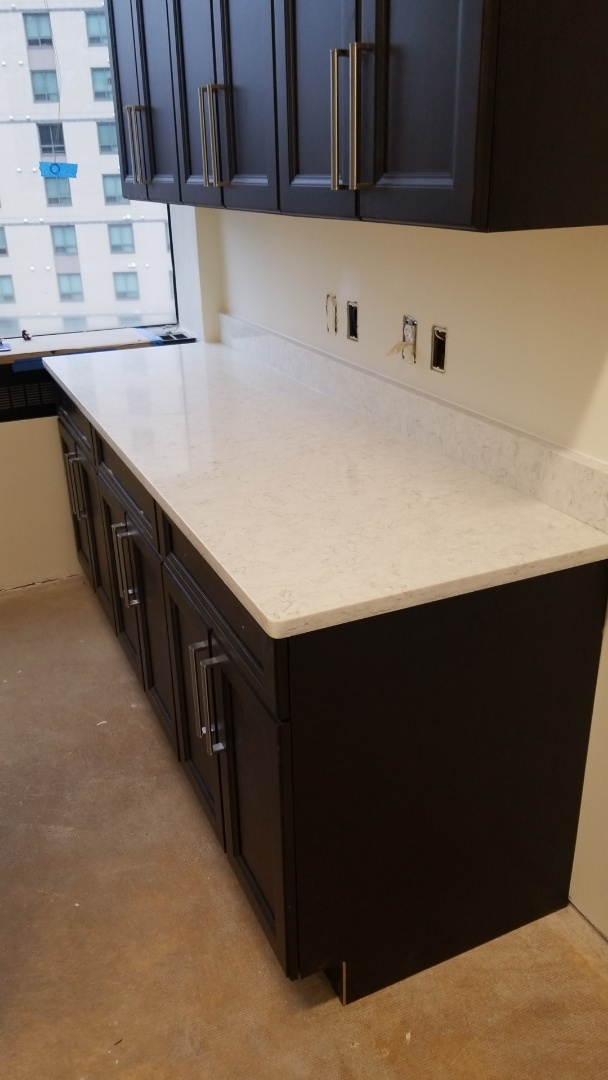 Silver Spring, MD - Lusso Silestone Quartz Countertops and Custom Cabinets. Commercial Job
