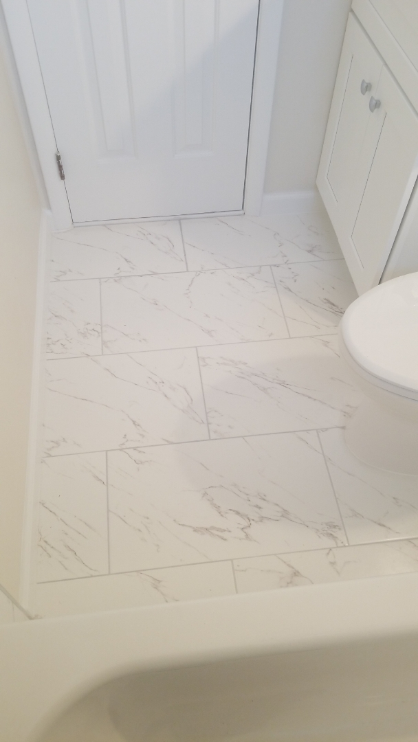 Rockville, MD - BATHROOM REMODEL WITH CALACATTA CERAMIC TILE
