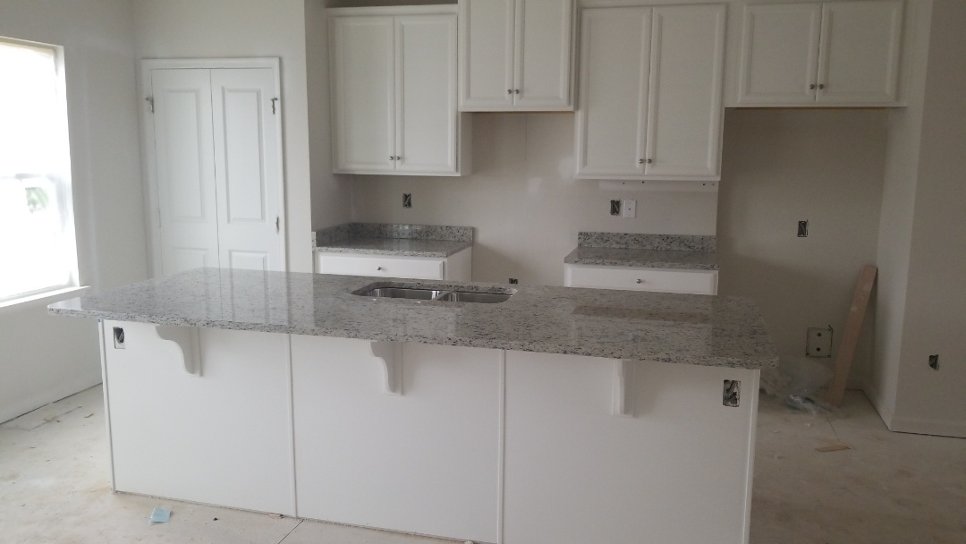 Baltimore, MD - Dallas white granite countertops, new construction, stainless steel sink