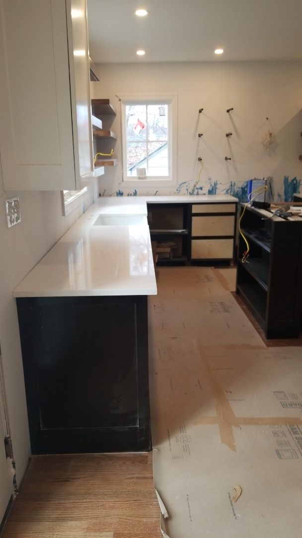 Takoma Park, MD - QMSI -Arctic White Countertops with farm house sink!