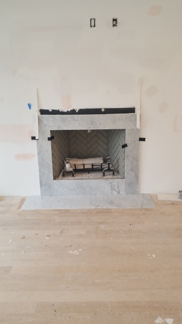 Chevy Chase, MD - 	white cararra marble fireplace surround