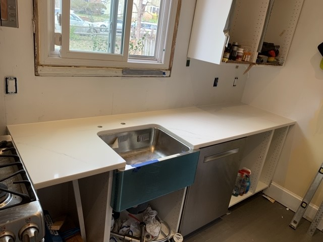 Washington, DC - QMSI - Calacatta Trevi countertops - Quartz with Farm sink!