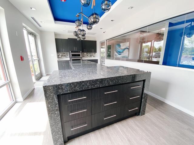"""Ashburn, VA - Waterfalls and 5"""" tick Granite Counter tops - Blue pearl"""
