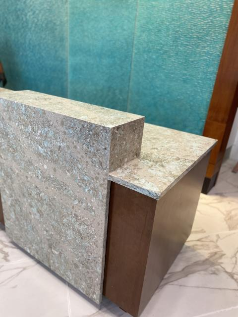 Forest Heights, MD - Cambria - Kelvingrove 3CM - Reception desks, mitered edges, Hotel lobby