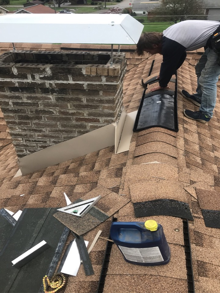 La Jose, PA - chimney repair , shingled roof Repair, custom masonry flashing and sealer , chimney repointing , custom chimney cap .