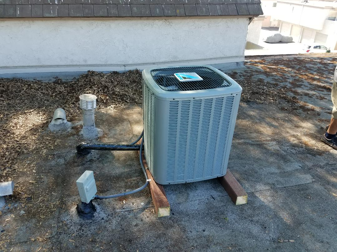 Irvine, CA - Replaced condensing unit on roof with new Daikin 12 year parts warranty unit