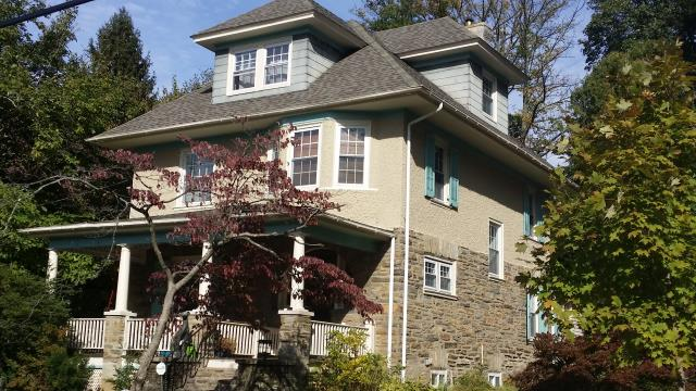 Jenkintown, PA - Roof Replacement, replace existing roof with new CertainTeed Landmark Shingles. Color Weathered Wood