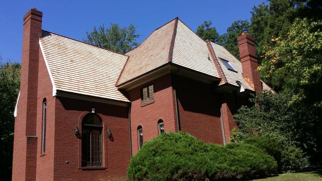 "Media, PA - Cedra Roof Replacement-Replace existing cedar roof with new Cedar Shingle 7/8"" thick. Fabricate and install new copper flashings and copper wrap hips"