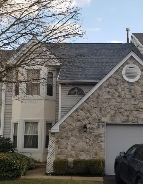 Newtown, PA - Replace existing shingles and plywood with new fire rated plywood and new CertainTeed Landmark shingles with new underlayments, flashing and ridge-vent. Color: Colonial Slate