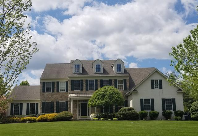 Morrisville, PA - Residential Roof Replacement; Replace existing roof roof with New GAF Timberline HD shingles, new underlayment, new flashing and ridge - vent. Color Weathered Wood