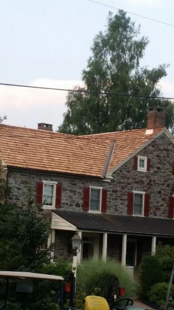 East Greenville, PA - Residential Roof Replacement - Replace existing cedar roof with New Heavy Hand - Split Cedar Shake Roof. Fabricate and install nw copper flashing.