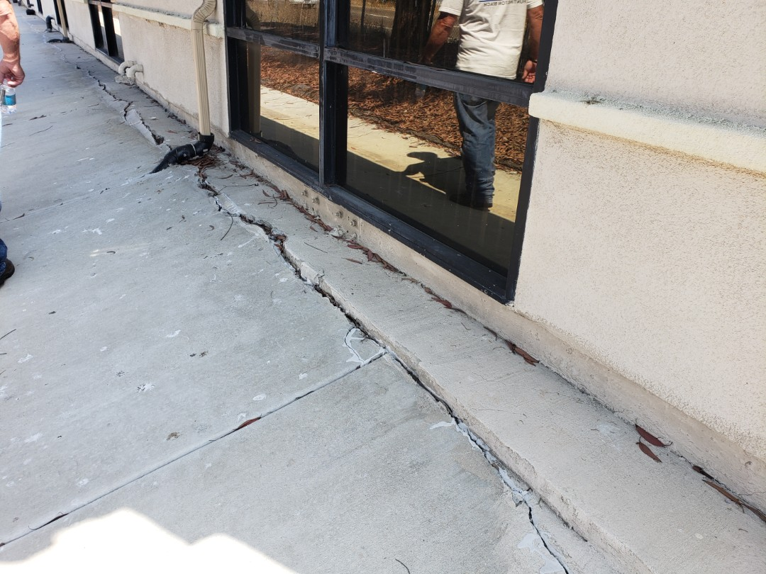 """San Marcos, CA - Commercial building foundation inspection with 3.5"""" of settlement."""
