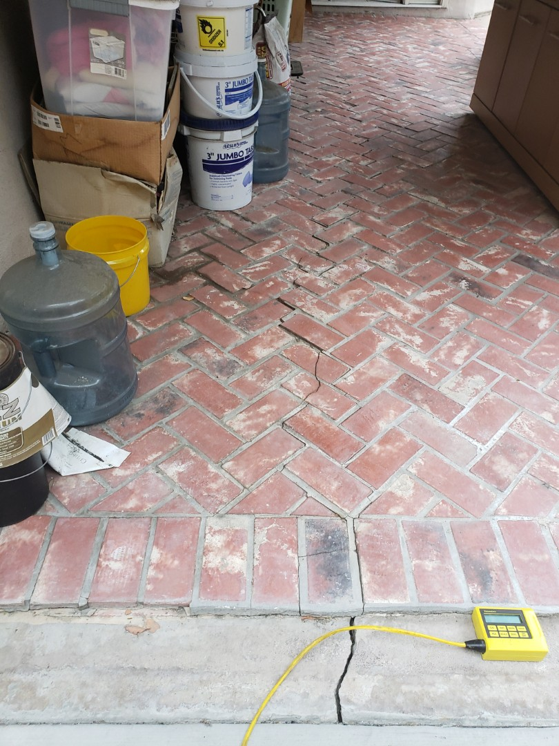 """Placentia, CA - Slab crack with 1/2"""" settling from side to side."""