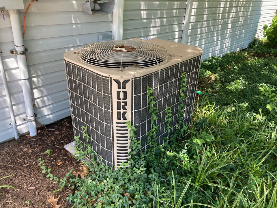Working on a York air conditioner in Marion.