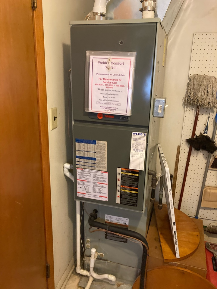Carbondale, IL - Performing maintenance on a Trane gas furnace in Carbondale.