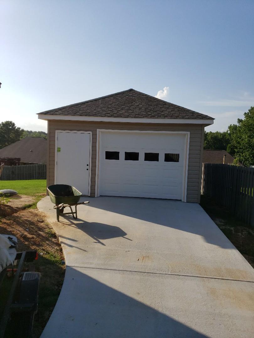 Wetumpka, AL - One 25'x16' detached garage delivered!