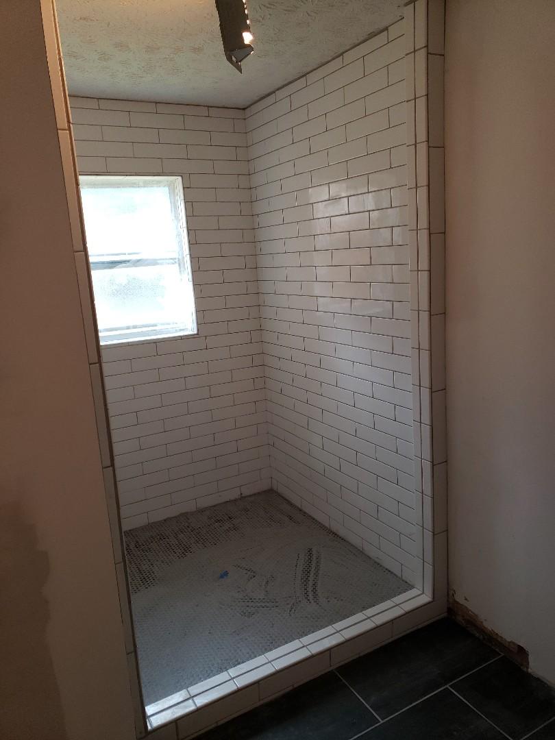 Custom shower grouting