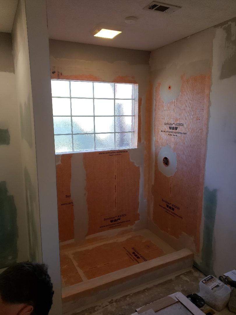 Wetumpka, AL - Custom shower schlueter membrane installed. Next comes tile!