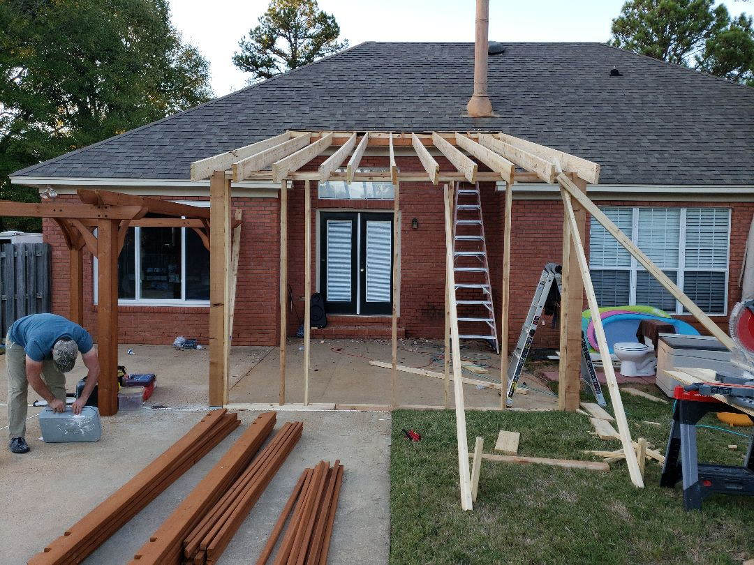 Screened in back porch and pergola day 1