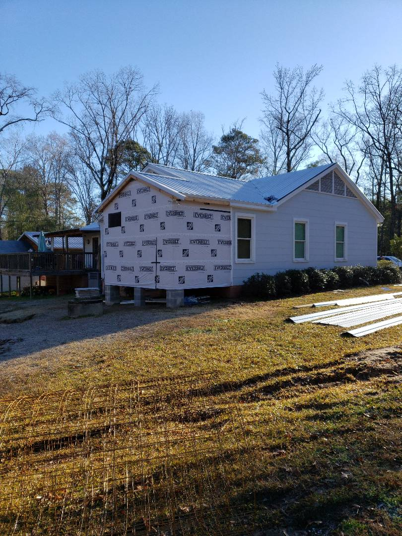 Bathroom addition wrapped and ready for siding