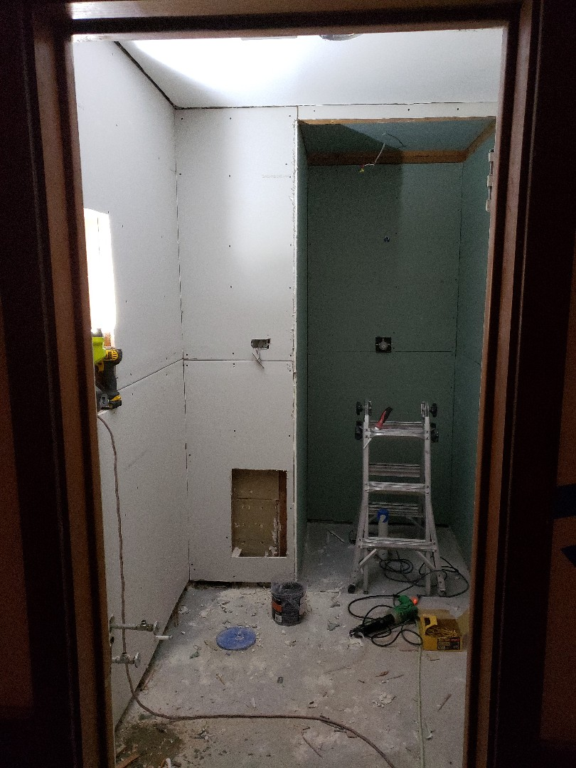 Guest bathroom remodel, sheetrock up ready for mud and waterproofing membrane
