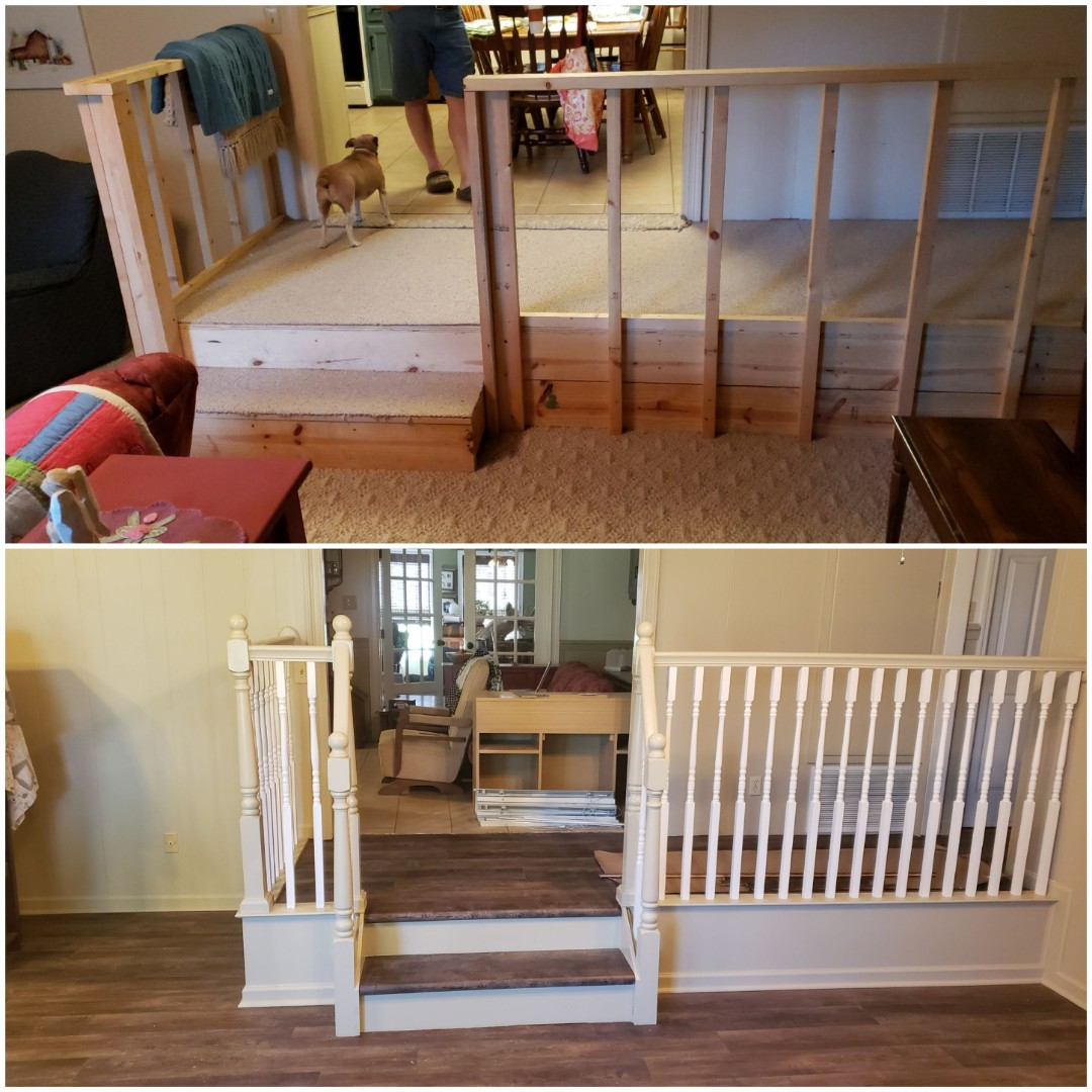 Flooring installation and new railing installed in a client' home in Autaugaville, AL