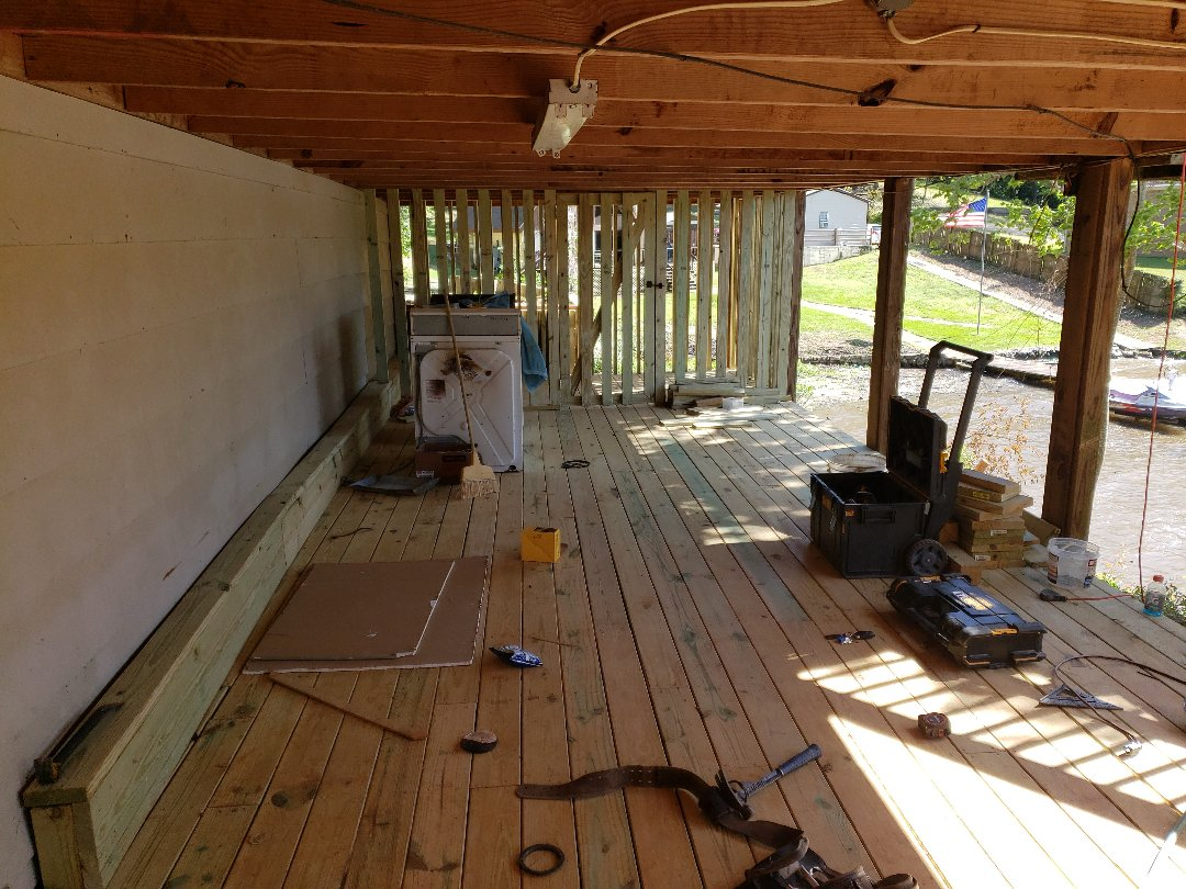 Under porch deck work