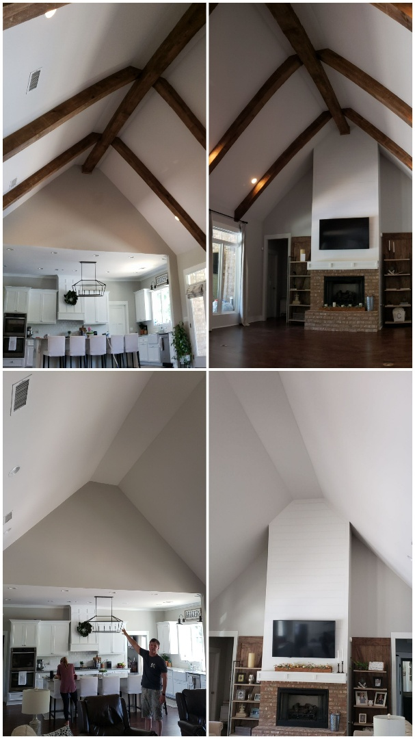 Ceiling beams, faux beams, beams on vaulted ceiling. Before and after. Done!