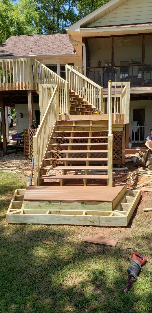 Dadeville, AL - Railing and landing almost done on deck remodel