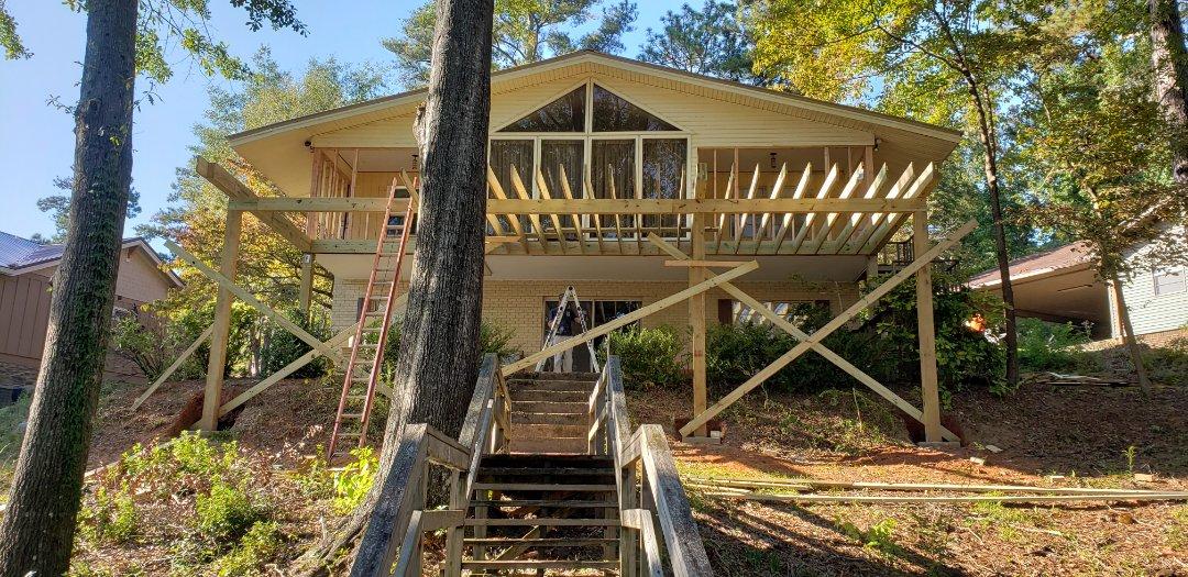 Deck joist on deck porch addition