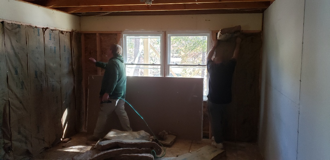 Insulation going in on expanded walls in rooms. Getting ready for sheetrock