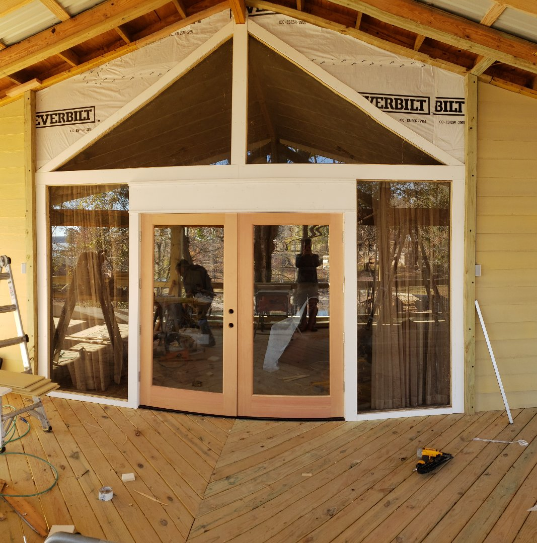 Trim on French doors and porch deck addition