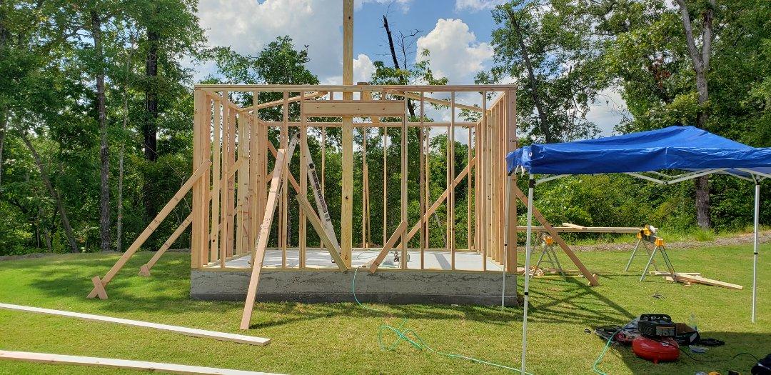 Custom shed build framing