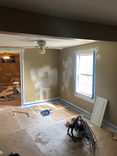 Reconstruction following water mitigation. Containment tape pulled, painted kitchen ceiling and some of the walls in kitchen, hallway, and master bedroom.