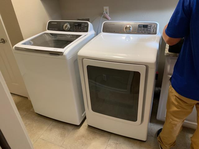 Broken Arrow, OK - New washer and dryer installed after flooding from home owner accidentally leaving water on occurred in the laundry room, damaging the garage and kitchen as well.