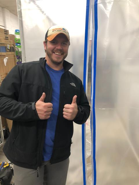 Tulsa, OK - Commercial mold remediation job. The business manager of the store discovered a large area of their stock room with mold growth. Today we cut out the sheet rock, applied antimicrobial spray to the metal shelving in the stock room as well as all affected areas.