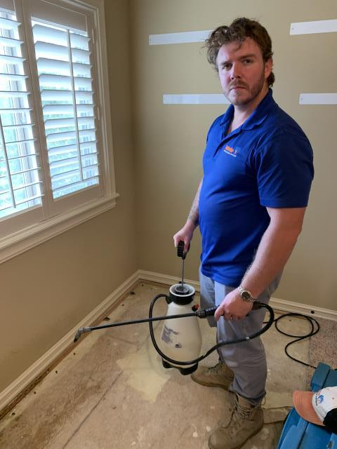 Water loss and mold mitigation job for a residential customer. Containment was set up and the carped was ripped out. A Dry-Eaz dehumidifier was set to monitor moisture as well as Ram Force air movers to dry. Mold was removed from home owner's entertainment center as well.