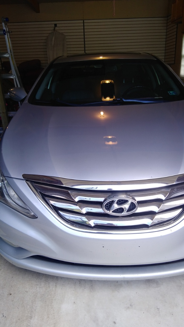 Repaired windshield on Hyundai Sonata for a customer at his home