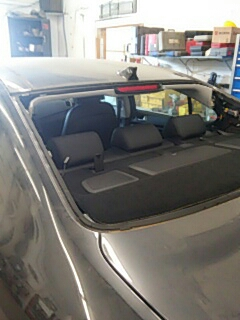 Kunkletown, PA - Removed back glass for body repair at Syracuse Auto Body