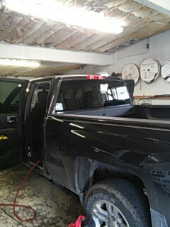 Lehighton, PA - Replaced shattered back glass on Chevrolet Silverado for a customer in the shop