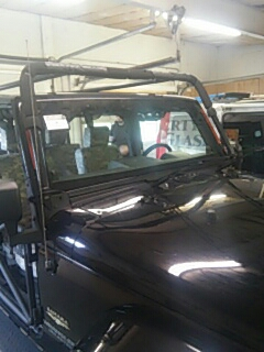Lehighton, PA - Replaced windshield on Jeep Wrangler for a customer in the shop