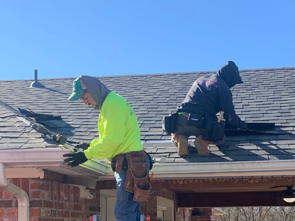 Broken Arrow, OK - Arrowhead Roofing is extending the roofline on this house in Broken Arrow Ok.  Call for a free estimate if you have roofing, siding, paint or guttering that is in need of replacement or repair. Arrowhead Roofing 918-743-9257