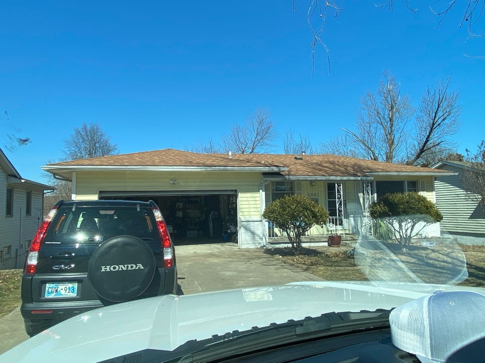 Tulsa, OK - Roof Inspection revealed hail damage to the shingles. House will also need a new decking surface installed to get it up to code. Insurance will be out soon to look at it.